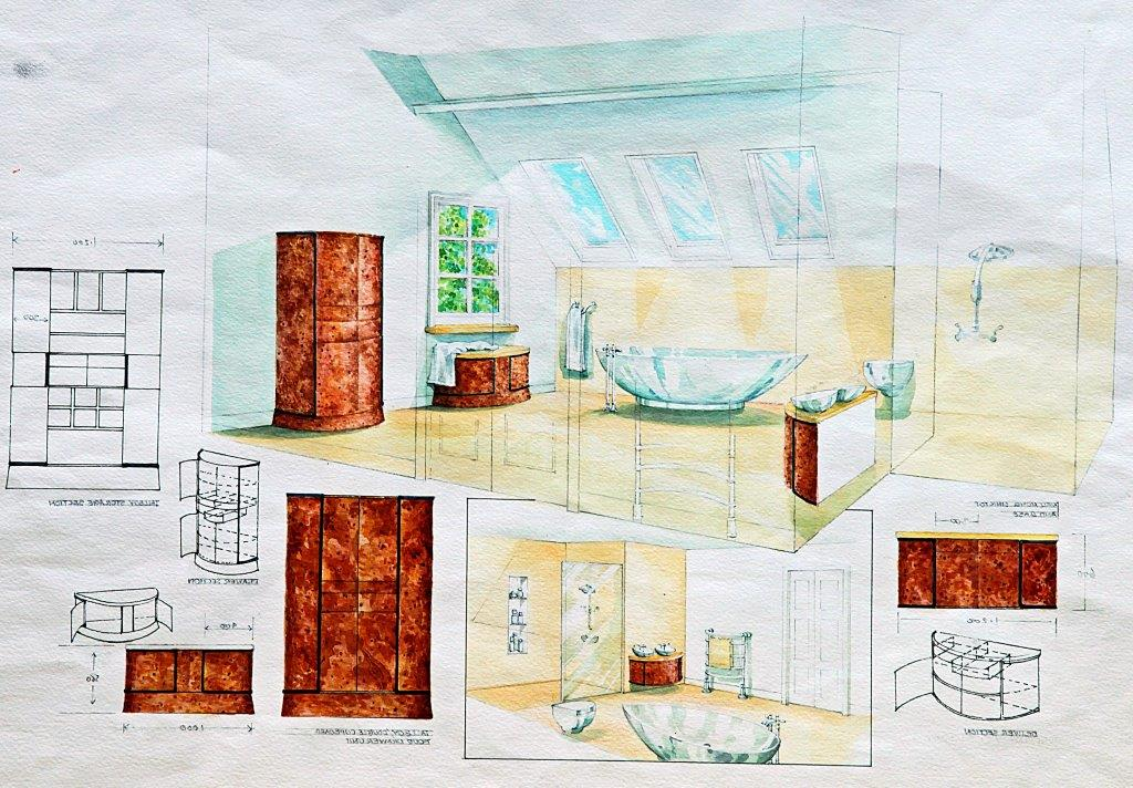 Bathroom loft conversion units in bur oak and ebony inlay