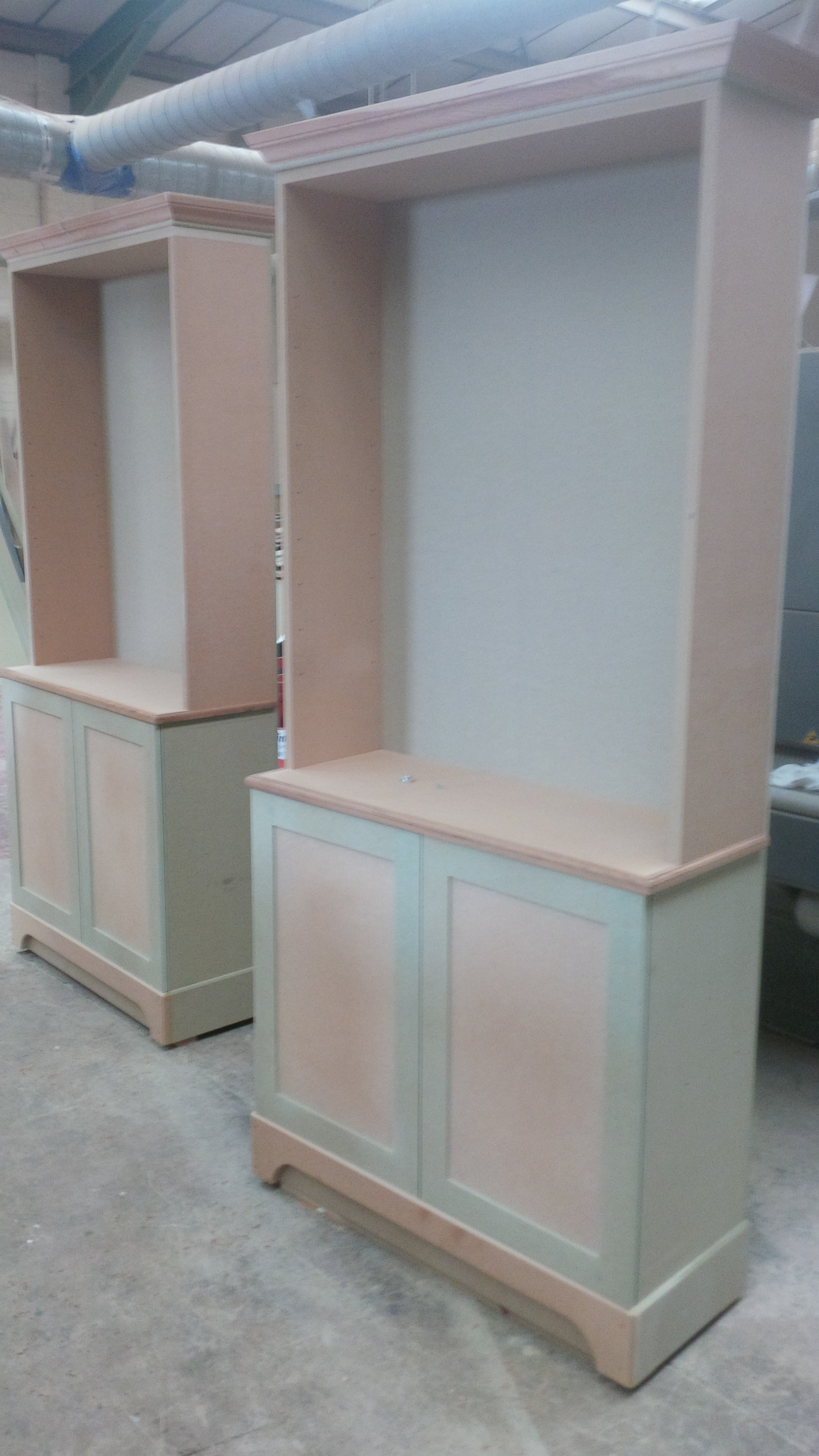 Bespoke book cases before being painted