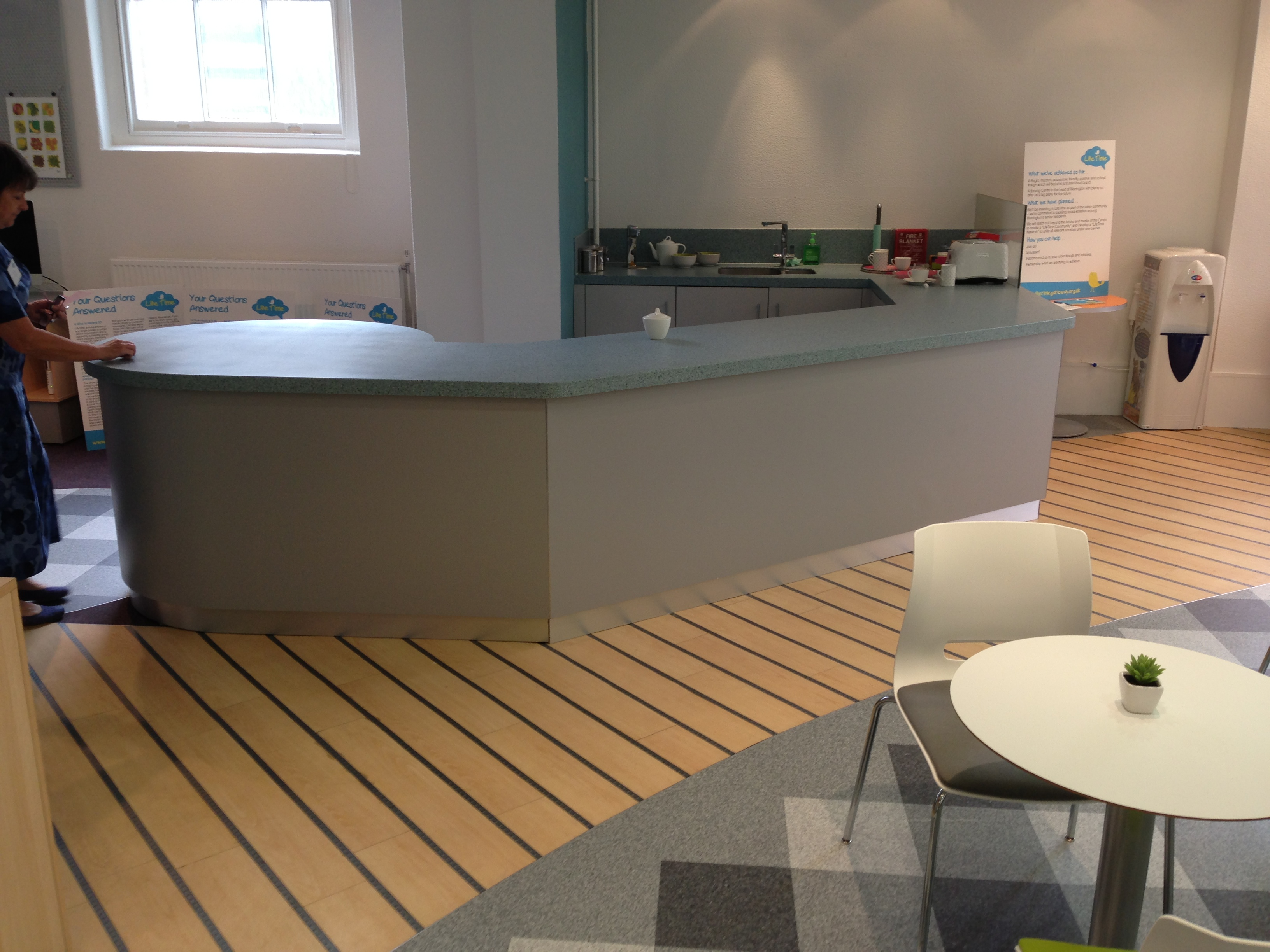 Coffee bar reception – Warrington Fascia made up in Mr Mdf with steel formica laminate, plinth made from stainless steel