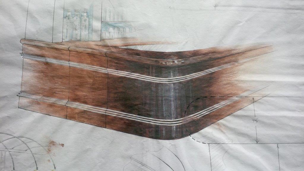 Corner detail for resturent bar showing S/S inlaid trim