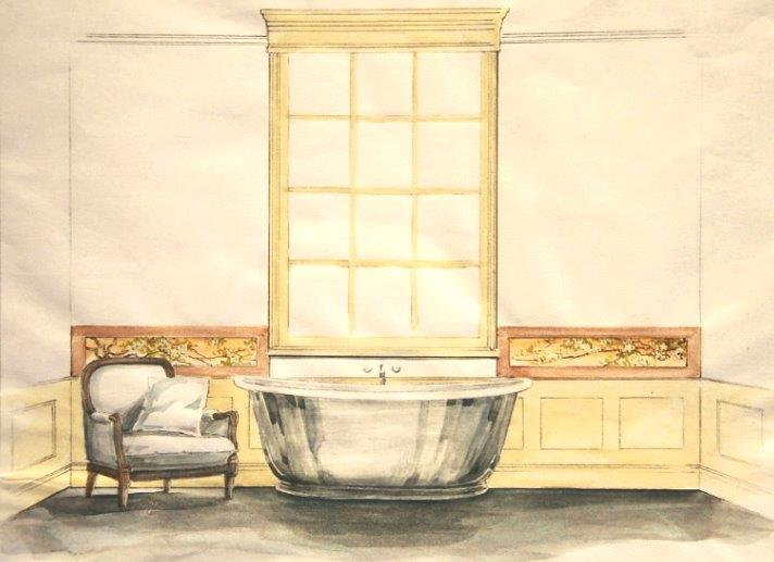 Period bathroom concept with hand painted wall panelling and period tiles