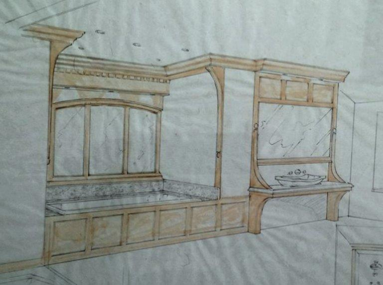 Period bathroom sketch in oak with white italin  marble