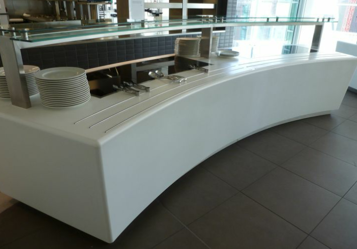 Pincent Masons – London  Glacier white corian thermoformed and fabricated to look like a solid white shape
